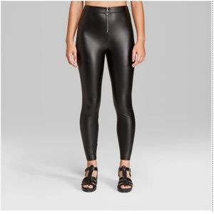 Faux Leather High-Rise Leggings with O-Ring-74-8